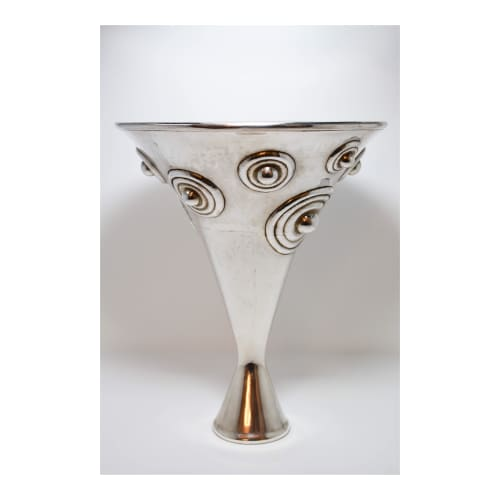Silver Hollow Vase w/ Circles | Vases & Vessels by Graziella Laffi