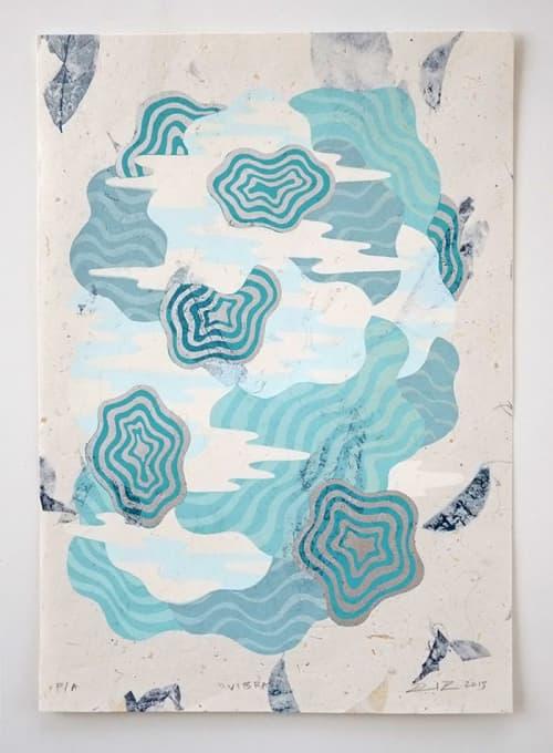 Vibras Screen Print   Wall Hangings by David Peña