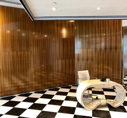 Wall Treatments by HerlanderArt seen at alice and olivia, New York - Floating Teak Wall