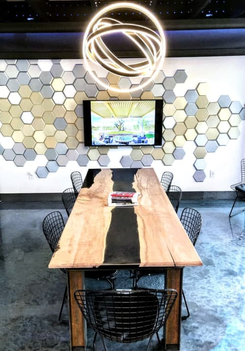 Tables by Lumberlust Designs at Modern Shade Co., Scottsdale - Curly White Waxed Maple Smokey Resin River Conference Table