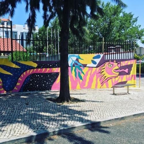 Street Murals by Pitanga at Almada, Almada - Tiger Mural