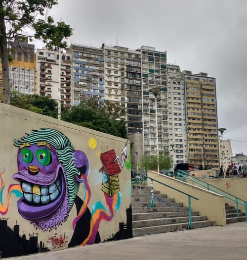Street Murals by Léo Araújo seen at Praça Roosevelt, Centro - Praça Roosevelt Mural