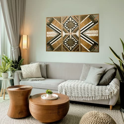 ''Aztec Trio'' Wood Wall Art | Wall Hangings by Skal Collective
