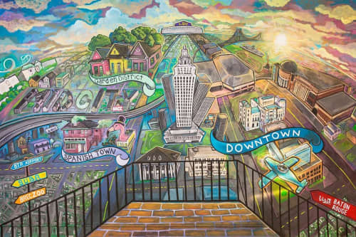 Indoor Mural | Murals by Skinny Dope | Raising Cane's River Center Arena in Baton Rouge