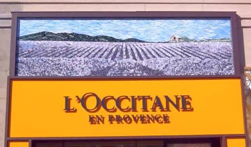 Art & Wall Decor by JK Mosaic, LLC seen at Avalon, Alpharetta - Lavender Fields Glass Mosaic Murals for storefront