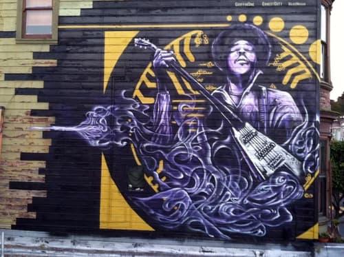 Murals by Max Ehrman (Eon75) seen at Jimi Hendrix Red House, San Francisco - Jimi Hendrix Lives