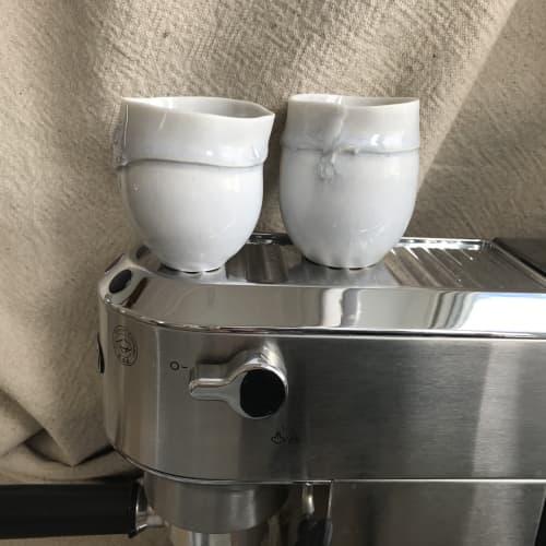 porcelain little blue tea or coffee cups   Cups by Helene Fleury