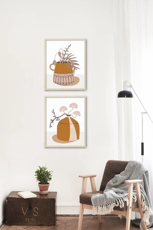 Paintings by Birdsong Prints at Private Residence - Wake Forest, NC, Wake Forest - Mid Century Modern Crockery Prints Set
