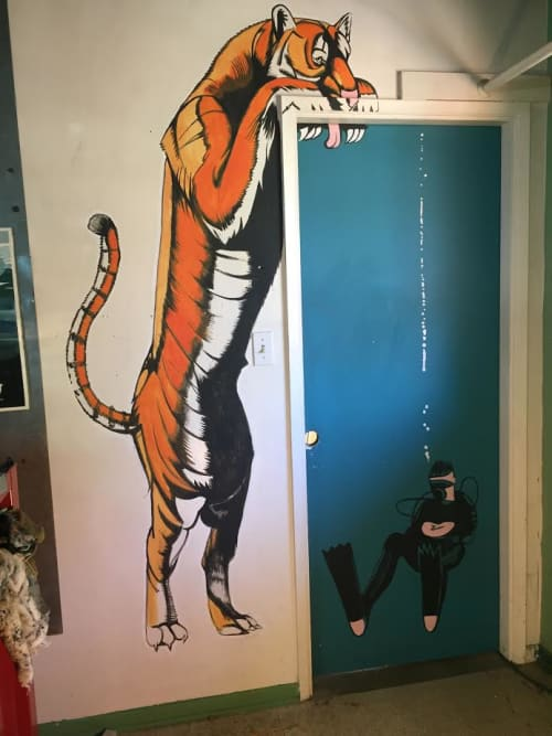 Murals by Miles Lewis Murals at Private Residence - Woodland Hills, Los Angeles, Los Angeles - Tiger & Diver