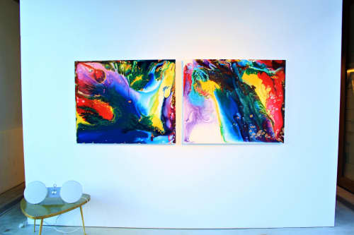 Paintings by Tommy Balogh Art seen at Canberra, Canberra - Born into the cascades (Diptych)