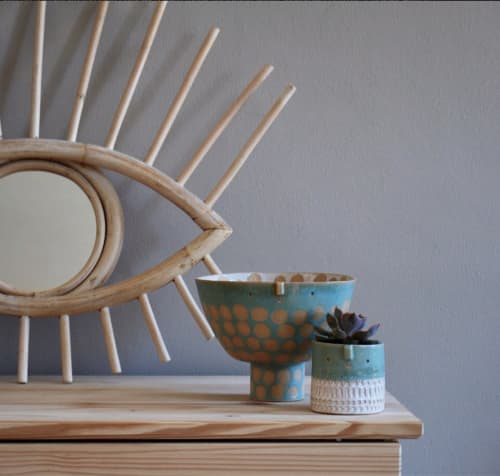 Vases & Vessels by Atelier Stella Ceramics seen at Private Residence, Brighton - Mini Turquoise + white stamped pot