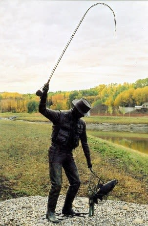 Fly Fishing on the Bow | Public Sculptures by Don Begg / Studio West Bronze Foundry & Art Gallery | Calgary International Airport in Calgary