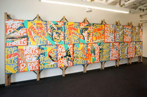 """Art & Wall Decor by ANTLRE - Hannah Sitzer seen at Google Java, Sunnyvale - Wheat pasted """"Billboards"""""""