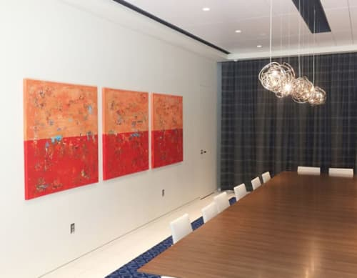 """Paintings by Shawn McNulty Art at Emerson Automation Solutions, Shakopee - Rosemount 48x144"""" triptych painting"""