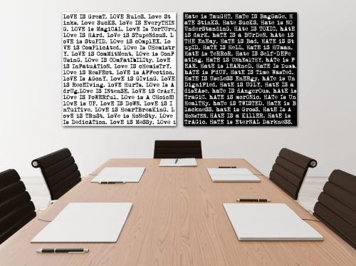 Art & Wall Decor by Joanie Landau seen at Needle   Cuda: Divorce and Family Law, Westport - Love Is/Hate Is Duo