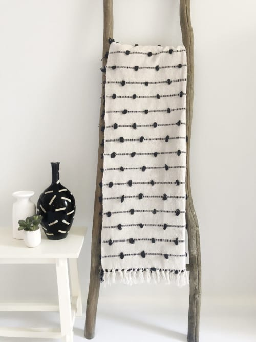 Cotton Sea Throw Blanket - Black | Linens & Bedding by Coastal Boho Studio