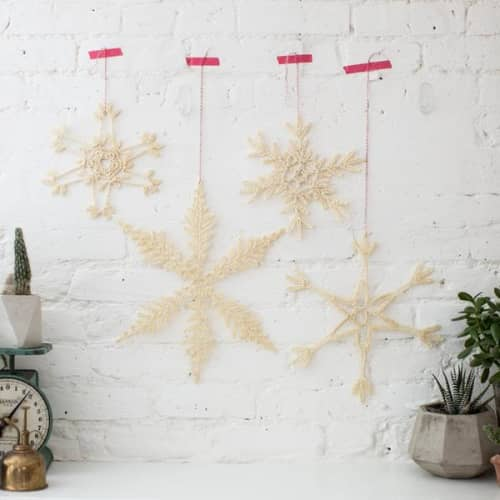 Wall Hangings by Flax & Twine - Giant Crocheted Snowflake DIY KIT