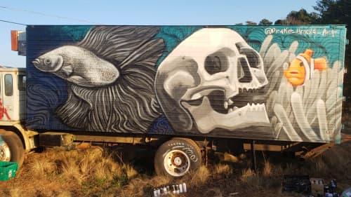 School Bus Graveyard - Box Truck Mural | Murals by Drake Arnold