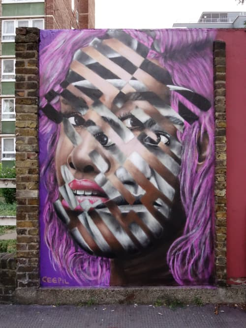 Murals by CeePil seen at Barbon Close, London - Double portrait London19