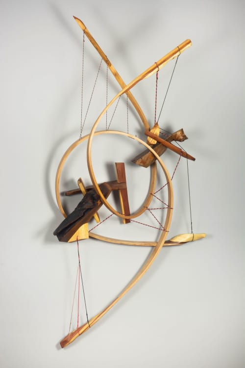 Odysseus #5 Wooden Curvilinear Abstract Sculpture   Sculptures by Oliver Clark - We Are Clark Studios