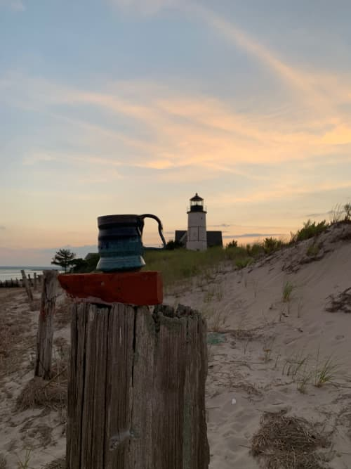 Cups by Solana Beach Pottery seen at Sandy Neck Lighthouse, Barnstable - Cote d'Azure Beer Mug
