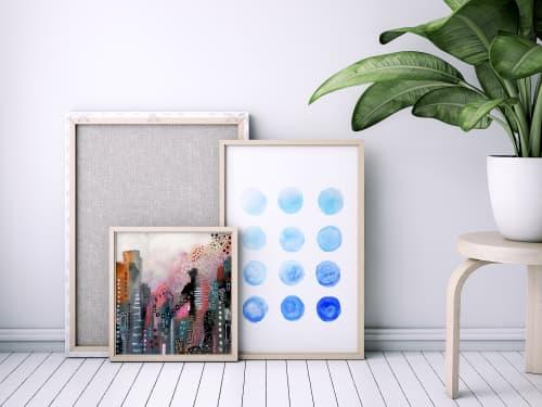 Calming Blue Watercolor Circles   Paintings by Melanie Biehle