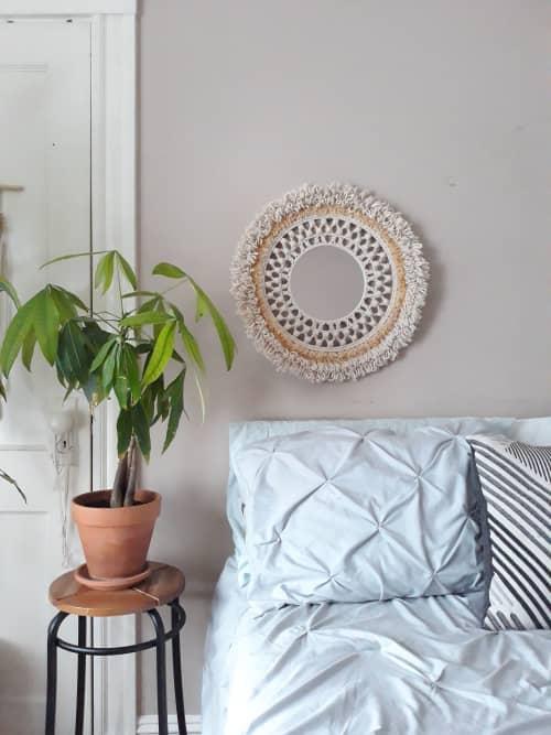 Macrame Wall Hanging by J. Barcellos Macrame - Hand-woven hanging macrame mirror
