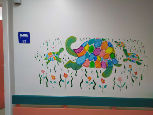 Murals by Tania Christoforatou seen at University General Hospital of Heraklion - Patterned tortoise