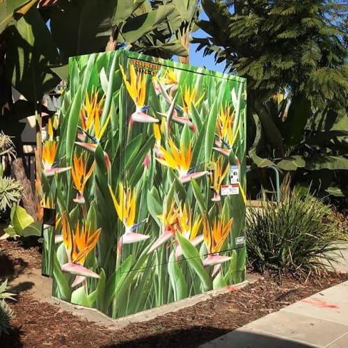 Birds of Paradise   Public Mosaics by Utlity Box Wraps by Lee Sie