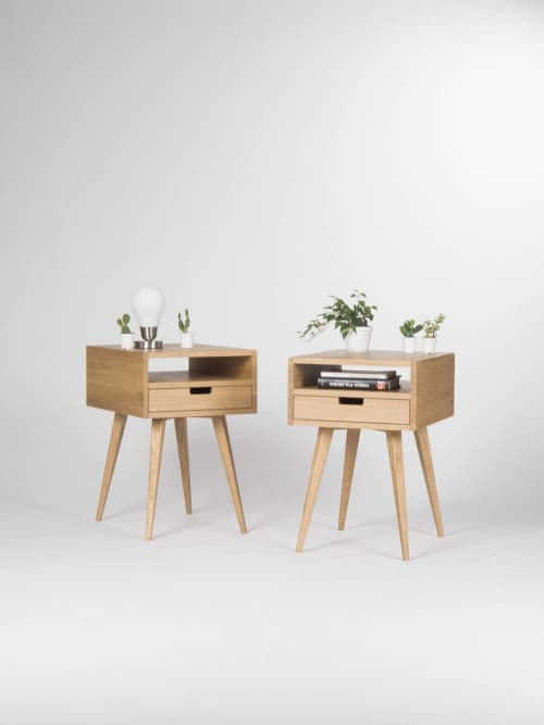 Furniture by Mo Woodwork seen at Stalowa Wola, Stalowa Wola - Pair of Mid Century Modern Nightstand - White Oak Finish