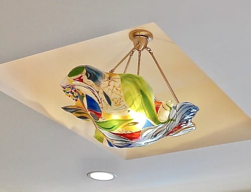 Large Abstract Fused Glass chandelier | Pendants by Bonnie Rubinstein Glass Studio | Stonecreek Plaza in Irvine