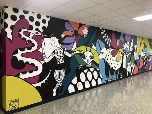 Murals by Emma Daisy at Wisconsin Hills Middle School, Brookfield - FOREST FRIENDS