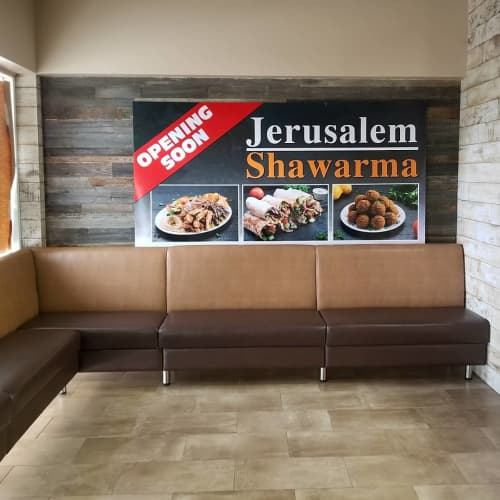 Benches & Ottomans by Build a Booth at Jerusalem Shawarma - 16 AVE, Calgary - Custom made Benches