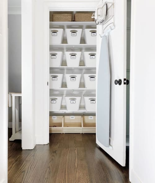 White Taper Storage Bins with Handles | Apparel & Accessories by The Container Store | Holly Blakey - Breathing Room in San Francisco