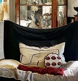 BISOUS BISOUS - KISS KISS! velvet round with cheetah | Pillows by Mommani Threads