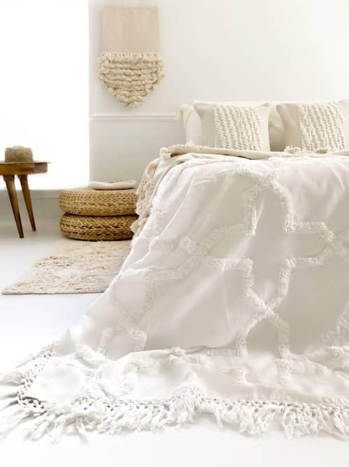 Linens & Bedding by Coastal Boho Studio seen at Creator's Studio, Destin - Sandy Handwoven Bedspread - Egg Shell