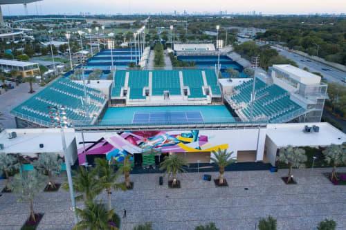 Murals by Fluke seen at Hard Rock Stadium, Miami Gardens - Chromatic Flow Mural