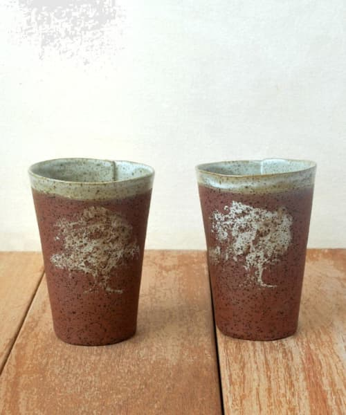 Rustic Ceramic Cup Set of 2   Cups by ShellyClayspot