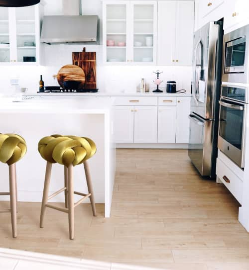 Yellow Gold Velvet Knot Bar Stool | Chairs by Knots Studio