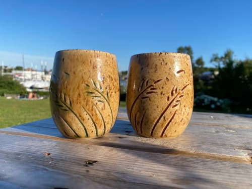 In the Wind, 10 oz. stemless wine cups | Cups by Honey Bee Hill Ceramics