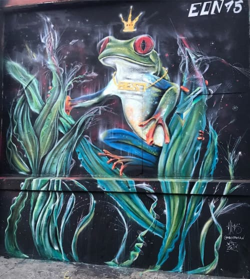 Murals by Max Ehrman (Eon75) at Community Thrift, San Francisco - Frog Prince Mural