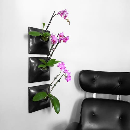 Node 9 Inch Ceramic Wallscape Planter - Living Wall Planter   Vases & Vessels by Pandemic Design Studio
