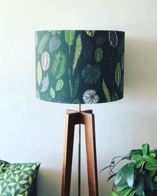Lamps by Sera Holland seen at Private Residence, Cape Town - Large custom foliage on green lampshade