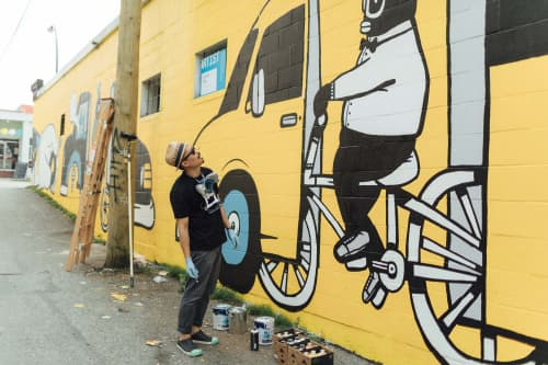 Street Murals by Chairman Ting Industries Inc. seen at Swiss Bakery, Vancouver - Ride Wild