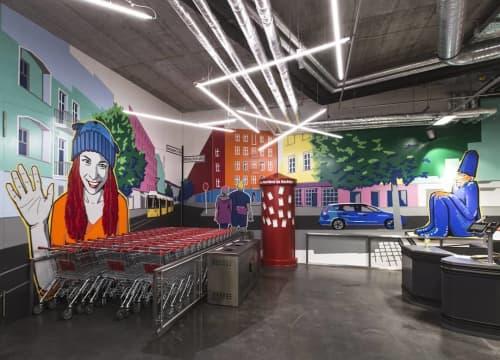 Tape Art Indoor Murals | Murals by Fabifa | PENNY in Berlin