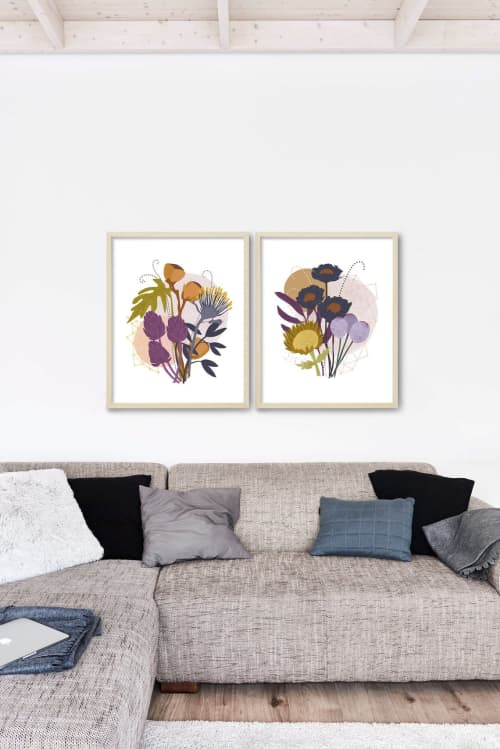 Paintings by Birdsong Prints seen at Creator's Studio, Denver - Set of 2 Modern Nature Art Print