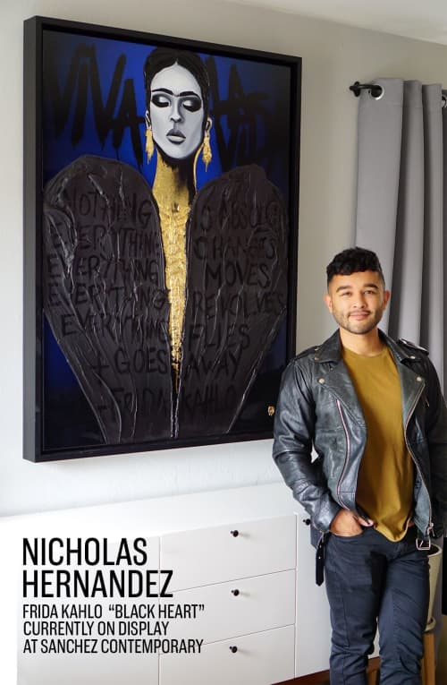 """Paintings by Nickhartist seen at Private Residence, New York - Frida """"Black Heart"""""""