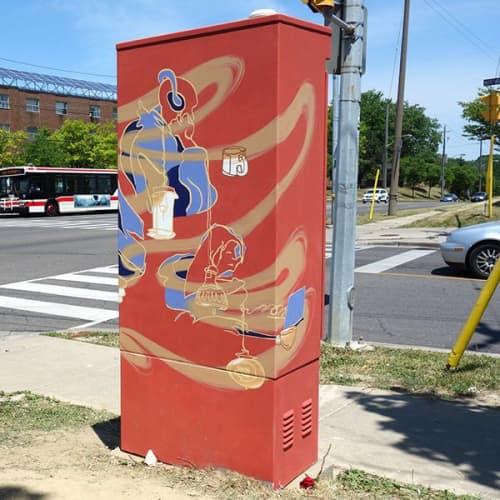 COFFEE Traffic Box Mural | Street Murals by Loren Yeung