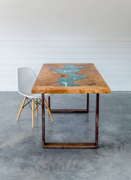Tables by SAW Live Edge seen at Private Residence, Kimberley - Big Leaf Maple Dining Table   River Series   Breadboard Ends   Walnut Base