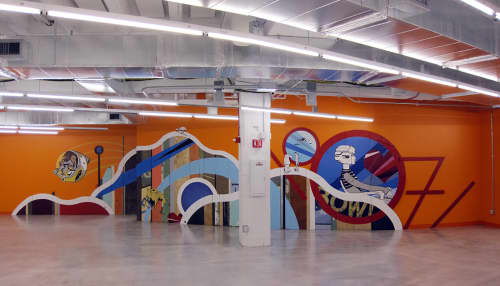 Murals by Chris Silva at 1871 West Merchandise Mart Plaza, Chicago, IL, Chicago - Back To The Future Primitive